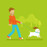 Man with a dog. Vector male character in flat style - man walking his funny dog - illustration in simple trendy style Stock Photo