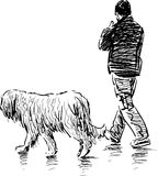 Man with a dog stock illustration