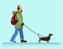 Man with dog walking. Illustration bearded man walking with dachshund dog, cold weather Stock Photography