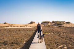 Man with dog walking on the wooden path on the beach and looking into the distance of the ocean Royalty Free Stock Images
