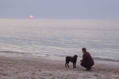 Man and dog watching sunrise. Young caucasian male walking with dog on the morning beach, sunset on the sea or ocean and man with black labrador puppy Royalty Free Stock Photos