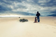 Man with dog in wild beach at storm.  stock photography