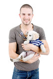 Man dog. Young man holding a cute small dog isolated on white Stock Photos