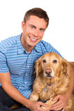 Man and dog. Young man sitting on the floor with his dog Royalty Free Stock Photo