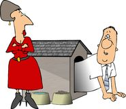 Man in the doghouse. This illustration depicts a man in a doghouse with a woman looking on royalty free illustration