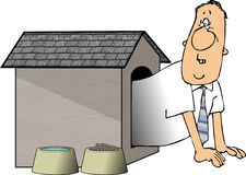 Man in the doghouse Royalty Free Stock Image