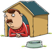 Man in the Doghouse. A cartoon man lying inside a doghouse royalty free illustration