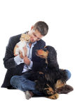 Man and dogs Stock Photography