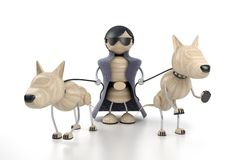 Man and dogs. Rich man and dogs. 3d model Stock Images