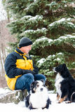 Man with dogs in winter Stock Image