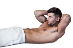 Man doing abdominal crunches Royalty Free Stock Photography
