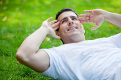 Man doing abs Stock Images