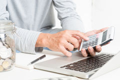 Man doing accounting royalty free stock photography
