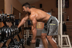 Man Doing Back Exercises In The Gym Stock Photos
