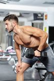 Man doing back workout Stock Photography