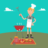 Man Doing Barbecue on Picnic. Summer Grill Party. Stock Image