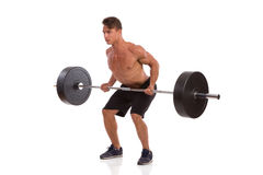 Man Doing Barbell Row Royalty Free Stock Images