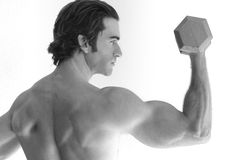 Man doing bicep curl Stock Image