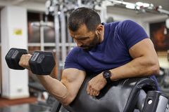 Man doing biceps curl. Man doing preacher biceps curl in the gym royalty free stock photos