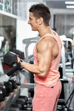 Man doing biceps workout in a gym Royalty Free Stock Photos