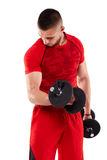 Man doing biceps workout Stock Photos