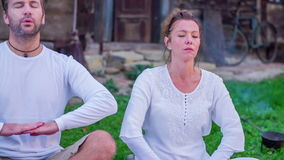 Man doing breathing exercises stock footage