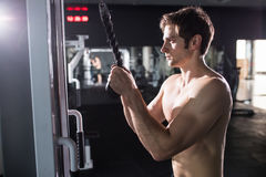 Man doing cable fly exercise in gym. Young athletic man. Man doing cable fly exercise in gym Stock Photo