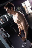 Man doing cable fly exercise in gym. Young athletic man. Man doing cable fly exercise in gym Royalty Free Stock Photo