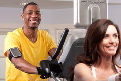 Man doing cardio. An african american man does cardio while listening to music Stock Photography