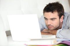 Man doing computer work Stock Image