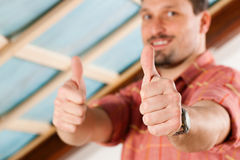Man doing dry walling, working Royalty Free Stock Images