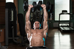 Man Doing Dumbbell Incline Bench Press Workout Royalty Free Stock Photos