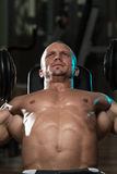 Man Doing Dumbbell Incline Bench Press Workout Royalty Free Stock Image