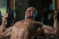 Man Doing Dumbbell Incline Bench Press Workout Stock Images