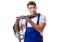 The man doing electrical repairs. Man doing electrical repairs isolated Royalty Free Stock Photo