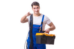 The man doing electrical repairs. Man doing electrical repairs isolated Royalty Free Stock Image