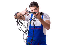 The man doing electrical repairs Stock Images