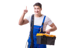 The man doing electrical repairs. Man doing electrical repairs  on white Stock Photo