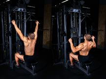 Man doing exercise for back tutorial. Bodybuilding concept. Exercises tutorial. Muscular man doing exercise for back with lat pulldown cable machine in gym Stock Images