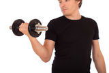 Man doing exercise with a steel dumbbell Royalty Free Stock Image