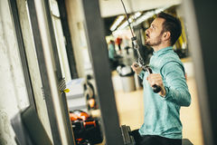 Man doing exercise for triceps in the gym on mashine Royalty Free Stock Photo
