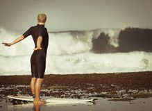 Man doing exercises at the beach Royalty Free Stock Image