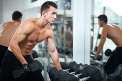 Man doing exercises dumbbell bicep muscles Stock Photos