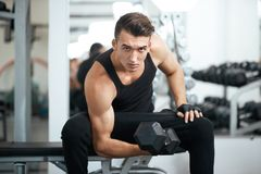 Man doing exercises dumbbell bicep muscles Royalty Free Stock Photos