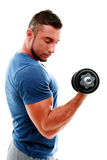 Man doing exercises with dumbbell Royalty Free Stock Image