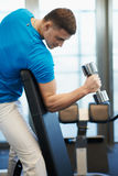 Man doing exercises dumbbells Royalty Free Stock Images