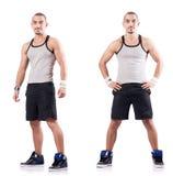 The man doing exercises on white Royalty Free Stock Photos