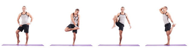 The man doing exercises on white Royalty Free Stock Images