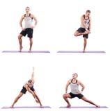 The man doing exercises on white Stock Image