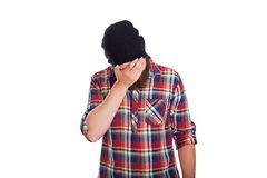 Man doing facepalm or cover his face with palm Stock Photo
